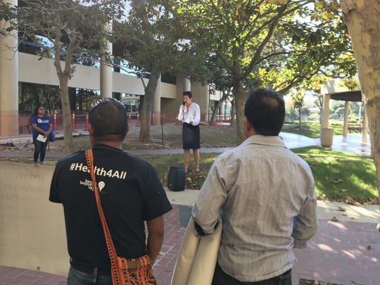 Immigration activists made speeches at a rally held outside the Hall of Administration Tuesday before Ventura County Sheriff Bill Ayub talked about federal immigration agents' access to jail inmates in 2018.