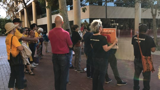 About 45 people attended a rally outside the Hall of Administration Tuesday before hearing about federal immigration agents' access to Ventura County jail inmates in 2018.
