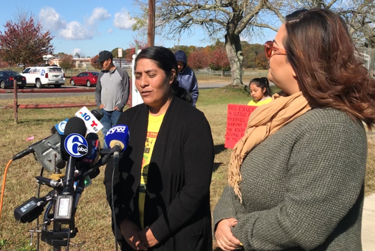 Norma Alavez Perez (left) speaks to reporters Wednesday about the family's feelings about the disappearance of her 5-year-old granddaughter Dulce Maria on Sept. 16. Next to her, Jackie Rodriguez acts as a translator. The family met with reporters at Ridgeway-Hunter Field on Babe Ruth Drive in Bridgeton. The girl vanished from an adjacent playground.
