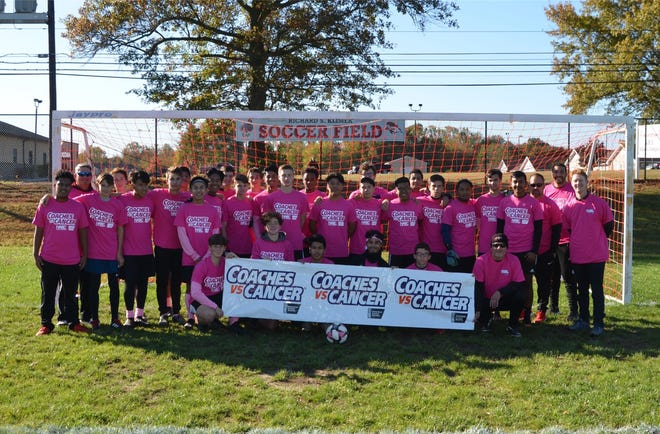 Vineland High School's boys' soccer team supported the American Cancer Society by participating in the Coaches vs. Cancer program.