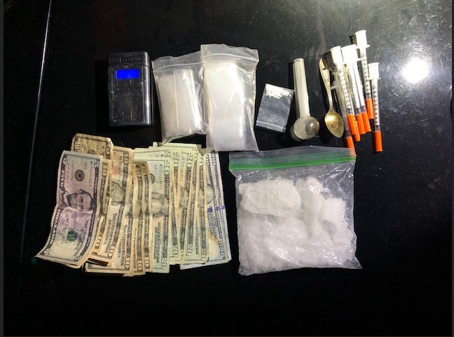 During a traffic stop, police found a half-pound of methamphetamine, cocaine and cash.