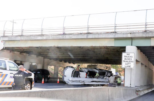 A bucket truck rolled on the Thruway near Exit 13 on Oct. 23, 2019.