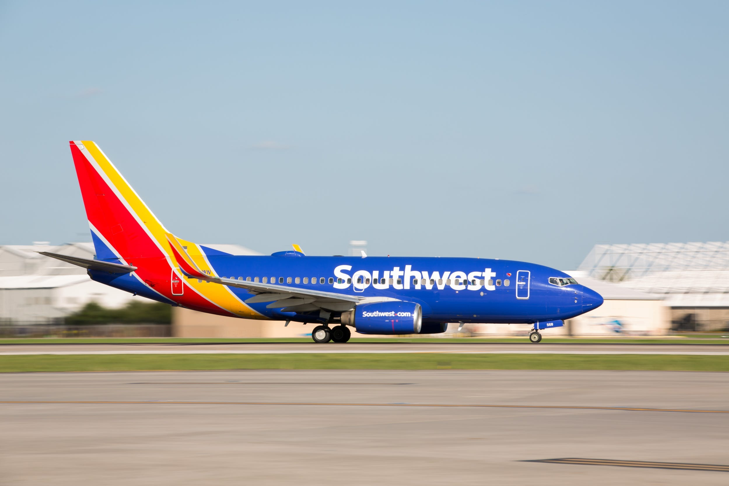 A Southwest Airlines' plan landing at an airport