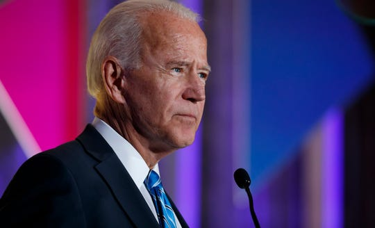 Democratic presidential candidate former Vice President Joe Biden speaks at the 2019 Democratic women's leadership forum, Oct. 17, 2019, in Washington.