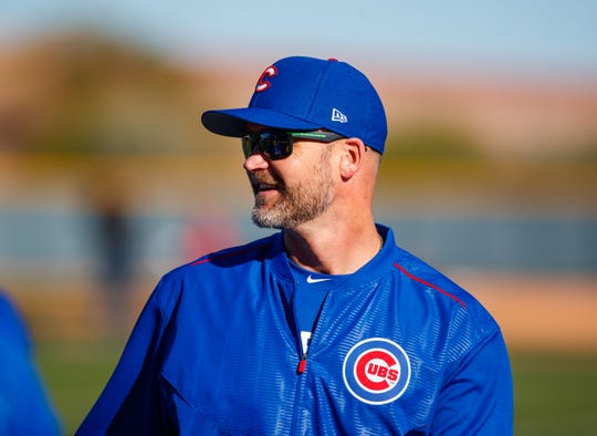 Chicago Cubs special assistant special David Ross during a Spring Training workout at Sloan Park.