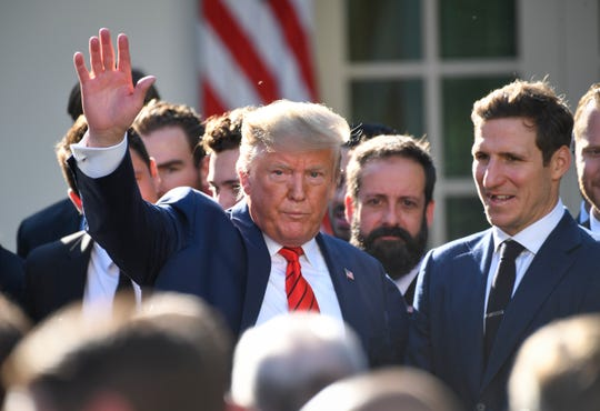 President Donald Trump departing the White House Rose Garden last week after welcoming the St. Louis Blues, 2019 Stanley Cup champions.