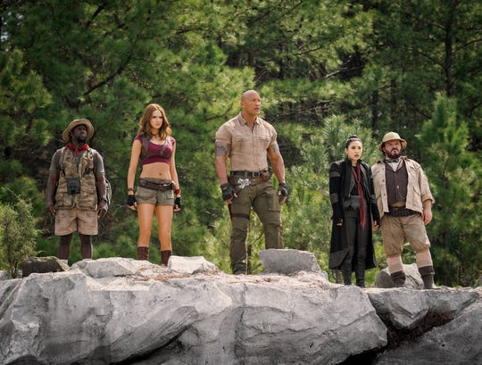 """Awkwafina (second from right) plays a mysterious new character opposite Kevin Hart, Karen Gillan, Dwayne Johnson and Jack Black in the sequel """"Jumanji: The Next Level."""""""