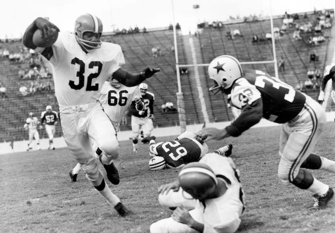 Jim Brown is a four-time NFL MVP, an eight-time First Team All-Pro, was the first player in league history to reach 100 rushing touchdowns and still holds the record for average rushing yards per game in a career (104.3).