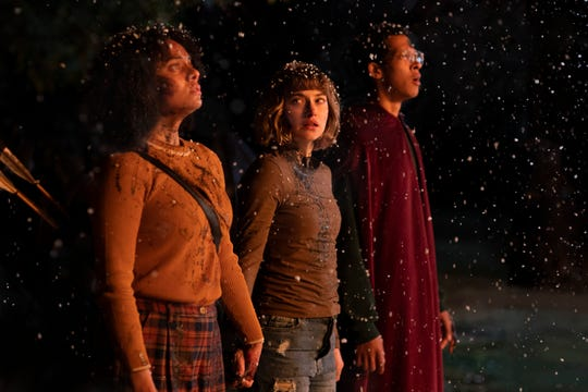 """Aleyse Shannon (far left), Imogen Poots) and Caleb Eberhardt play college kids dealing with a killer on campus during winter break in the slasher remake """"Black Christmas."""""""