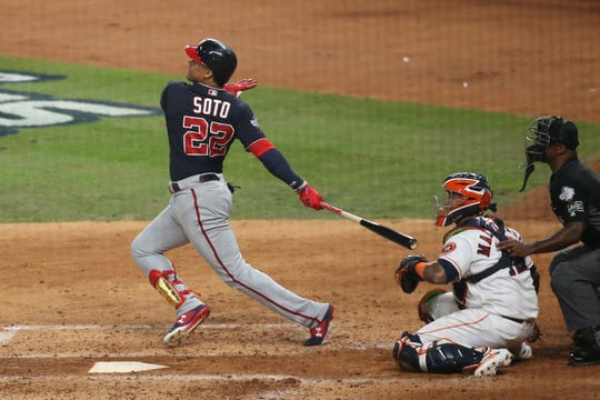 Nationals left fielder Juan Soto slugs a home run in the fourth inning.