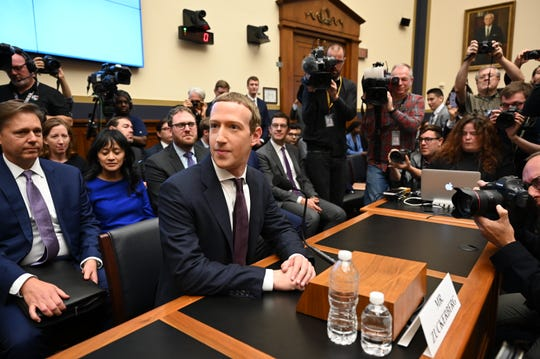 "Facebook CEO Mark Zuckerberg arrives to testify before the House Financial Services Committee for a hearing on ""An Examination of Facebook and Its Impact on the Financial Services and Housing Sectors"" on October 23, 2019 in Washington DC."