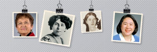 Ellen Kort, left to right, Edna Ferber, Francena Buck  and Mee Moua are among the notable Appleton women featured in a new exhibit.