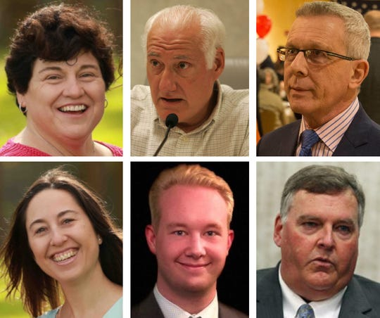 Six candidates are running for election to Assembly in the 10th District. They are: Eileen Della Volle (Democrat, top left), Erin Wheeler (Democrat, bottom left), former Point Pleasant Beach Mayor Vincent Barrella (independent, top center), Ian Holmes (independent, bottom center), former Brick Councilman John Catalano (Republican, top right) and incumbent Assemblyman Gregory McGuckin (Republican, bottom right)