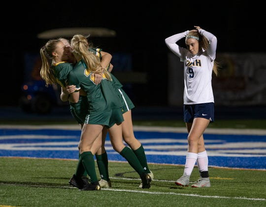 RBC Morgan Cupo celebrate her goal with teammates. Red Bank Catholic Girls Soccer defeats Toms River North 2-0 in SCT Girls Final in West Long Branch, NJ. On October 23, 2019.