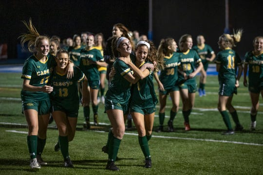 Red Bank Catholic celebrate their title. Red Bank Catholic Girls Soccer defeats Toms River North 2-0 in SCT Girls Final in West Long Branch, NJ. On October 23, 2019.