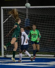 RBC Morgan Cupo heads in her team first goal. Red Bank Catholic Girls Soccer defeats Toms River North 2-0 in SCT Girls Final in West Long Branch, NJ. On October 23, 2019.