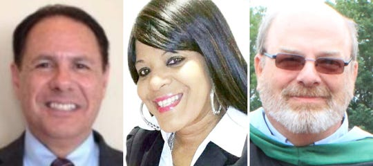 Candidates for Jackson school board, from left: Incumbent board member Thomas Colucci, Selene Haskins, and incumbent board member Michael Walsh.