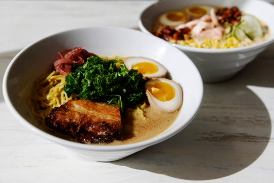 Broth Lab's #1 is made with tonkotsu, braised pork belly, shoyu egg, pickled red onion