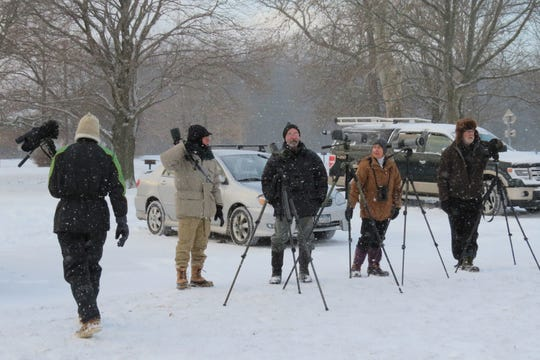 Cayuga Bird Club members, from left, Jody Enck, Ken Kemphues, Bob McGuire, Ann Mitchell and Wes Blauvelt set up for winter birding in 2018.