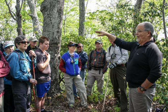 Wendell Begley leads a hike for the Swannanoa Valley Museum & History Center. The museum will recognize Begley, who was its board's chair for 21 years, on Nov. 8.