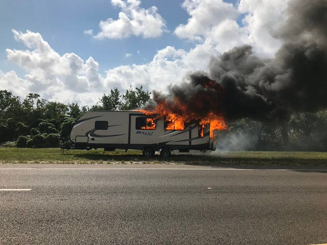 An RV fire briefly closed eastbound lanes on S.R. 528 Oct. 24, 2019.