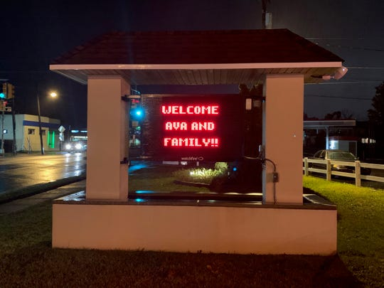 The digital sign outside Berlin Fire Company No. 1 greets Ava and her owners, Debbie Mazza and David Archambault, who brought dinner to the firehouse to show appreciation for Ava's rescuers.