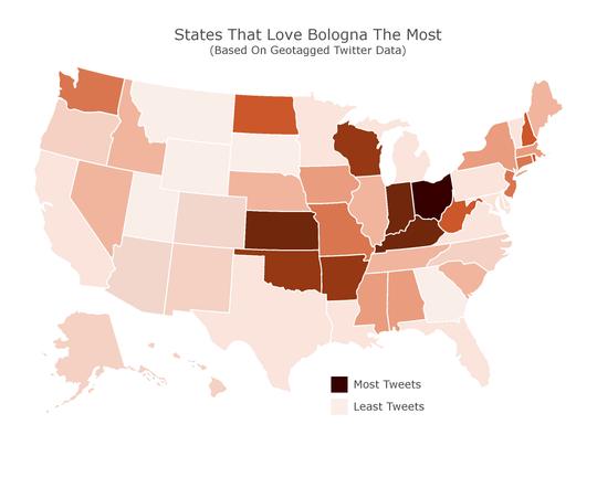 Ohio ranked #1 in a list of the top 10 bologna loving states in the United States.