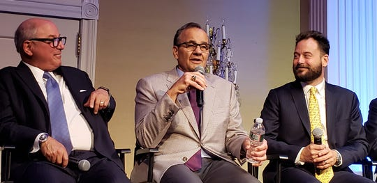 Hall-of-Famer Joe Torre talks at the celebration of the Somerset Patriots 20th yer with Chairman Emeritus Steve Kalafer and Co-Chairman Jonathan Kalafer.