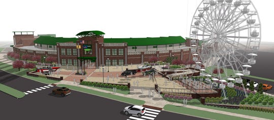 A conceptual rendering of the proposed Ferris wheel at the TD Bank Ballpark.