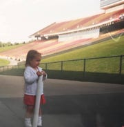 Maggie Espenmiller-McGraw hangs out at Jack Trice Stadium as a youngster.