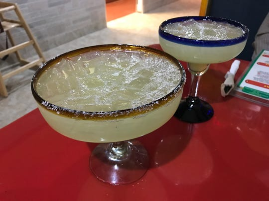 A jumbo margarita and a 16-ounce margarita from El Aguila Real.