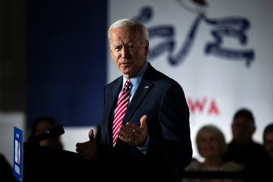 Former Vice President Joe Biden gives remarks during a campaign event on Wednesday, Oct. 23, 2019, in West Point.