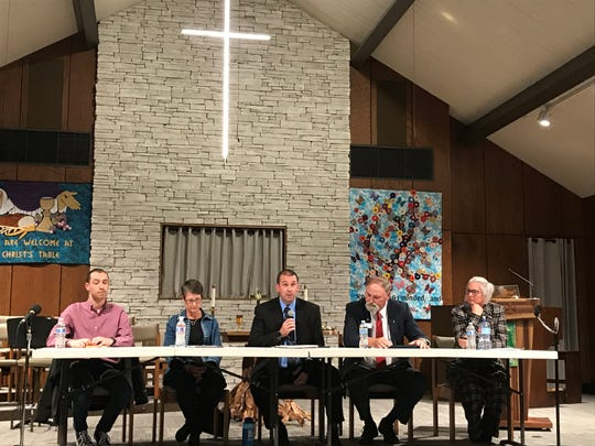 Norwalk City Council candidates discuss their priorities for the city if elected. From left, Josh Schoenblatt, Stephanie Riva, David Lester, Ed Kuhl, and Heather Gornick are running for three open seats.