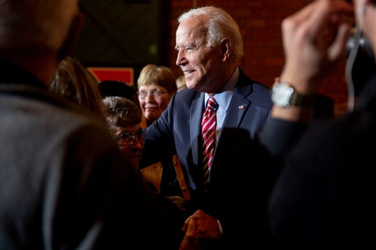 "Former Vice President Joe Biden greets people in the crowd after giving remarks during a campaign event on Oct. 23 in Muscatine. A ""Bipartisanship Index"" rates Biden, a longtime U.S. senator from Delaware before become vice president, as better than any current senators running for president in working to sponsor bills with Republican senators."