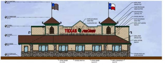 Architectural rendering submitted to the city of West Des Moines for a planned Texas Roadhouse at 6378 Mills Civic Parkway.