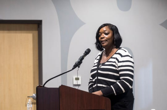 Detroit City Councilmember Janee Ayers speaks during a Returning Citizens Task Force meeting at the IBEW Local 58 in Detroit, Mich., on Monday, Oct. 14, 2019.