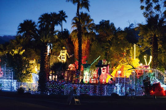 "The ""Robolights"" project by artists Kenny Irwin, Jr. in Palm Springs, California, is located on the grounds of his childhood home. The photograph is  by by the late Julie Reyes Taubman, from the publication"" Kenny Irwin, Jr.: The Robolights Project, Palm Springs 1986-2017,"" which is featured at the ""Robolights Detroit"" installation opening October 25, 2019 at the Museum of Contemporary Art Detroit."