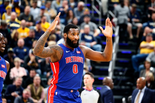 Detroit Pistons center Andre Drummond reacts against the Indiana Pacers during the first quarter at Bankers Life Fieldhouse, Wednesday, Oct. 23, 2019, in Indianapolis.