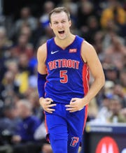 Detroit Pistons' Luke Kennard celebrates after making a 3-pointer against the Indiana Pacers at Bankers Life Fieldhouse on Wednesday, Oct. 23, 2019.