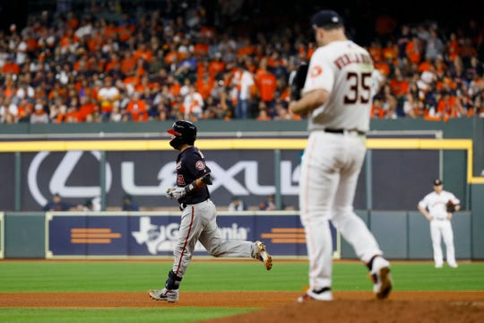 Washington Nationals' Kurt Suzuki rounds the bases after a home run off Houston Astros starting pitcher Justin Verlander during the seventh inning on Wednesday.