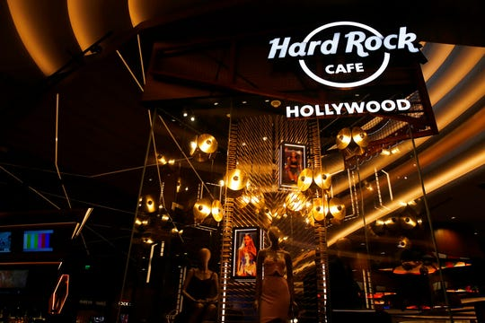The Hard Rock Cafe of Hollywood, Fla. at the Seminole Hard Rock Hotel and Casino on Thursday, Oct. 24, 2019, in Hollywood, Fla. The Guitar Hotel's grand opening is on the tribe's land in Hollywood.