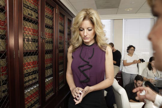 Summer Zervos, who appeared on Season 5 of the reality show, 'The Apprentice' said that Trump kissed her on the lips several times when she went to his office in 2007, during a news conference in this October 14, 2016, file photo. Appeals court judges rule Zervos' defamation case against Trump can go forward.
