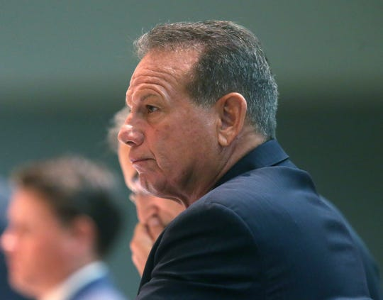 Former sheriff Scott Israel listens to Special Master Dudley Goodlette explain his findings to the senate rules committee concerning his dismissal by Gov. Ron DeSantis on Monday Oct. 21, 2019, in Tallahassee, Fla.
