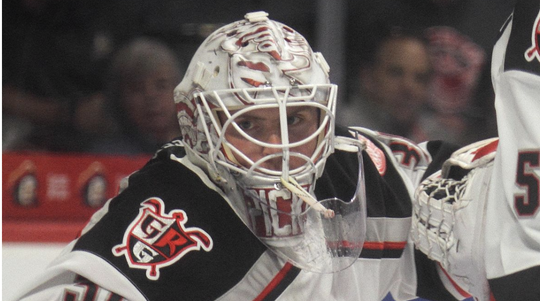 Grand Rapids goalie Calvin Pickard shut out the Admirals on Wednesday.