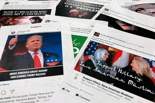 FILE - In this Nov. 1, 2017, file photo, Some of the Facebook and Instagram ads linked to a Russian effort to disrupt the American political process and stir up tensions around divisive social issues, released by members of the U.S. House Intelligence committee, are photographed in Washington.