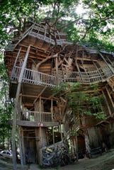 FILE - In this June 4, 2007 file photo a treehouse built by Horace Burgess is shown in Crossville, Tenn.