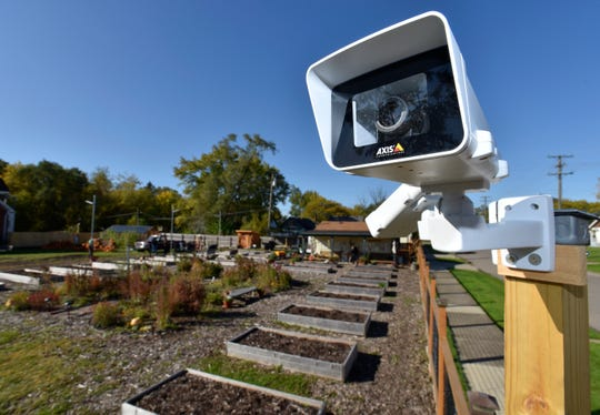 Several high-definition cameras monitor the garden and surrounding streets. This camera point points at Minock-Whitlock Park.