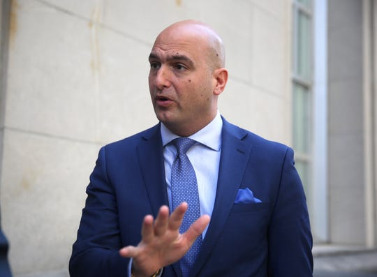 FILE -- Detroit School Superintendent Nikolai Vitti is interviewed outside the Potter Stewart U.S. Federal Courthouse in Cincinnati Thursday.