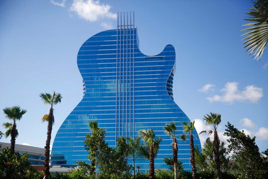 The guitar shaped hotel is seen at the Seminole Hard Rock Hotel and Casino on Thursday, Oct. 24, 2019, in Hollywood, Fla.