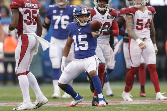 Golden Tate (15) has 15 catches for 195 yards and one touchdown in three games with the Giants this season.